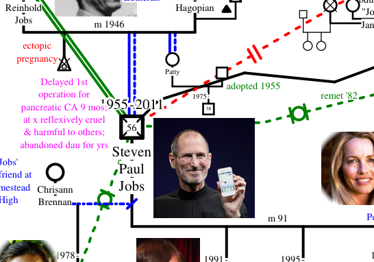 screenshot from Steve Jobs Genogram Story